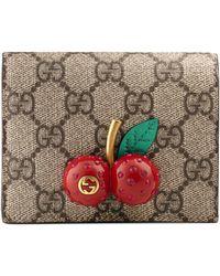 Gucci - Porta carte in tessuto GG Supreme con dettaglio ciliegie - Lyst
