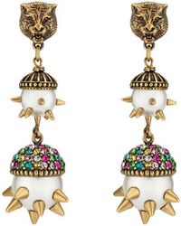 Gucci | Feline Earrings With Multicolor Crystals | Lyst