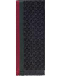 Gucci Bufanda de punto de jacquard GG con tribanda y fleco - Gris