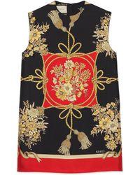 Gucci - Top a tunica con fiori e nappine - Lyst
