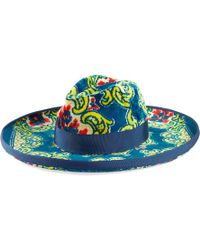 Gucci - Cappello in velluto con stampa broccato floreale - Lyst