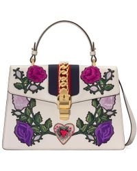 Gucci - Sylvie Embroidered Medium Top Handle Bag - Lyst