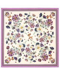 Gucci - Flowers And Fawn Print Silk Shawl - Lyst