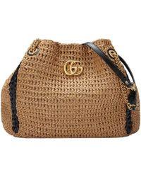 570769155d7 Gucci Marmont Matelassé Chevron Tote Bag in Black - Lyst