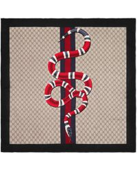 Gucci - Web And Snake Print Gg Silk Scarf - Lyst