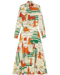 Gucci - Illustrated Cities Silk Dress - Lyst