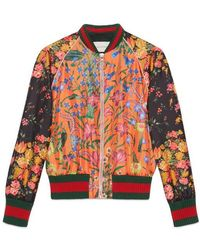 Gucci - Embroidered Patchwork Print Silk Bomber - Lyst