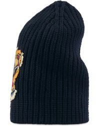 4cb8f135aa6 Lyst - Gucci Striped Wool Hat With Tiger Appliqué in Blue for Men