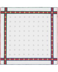 Gucci - Fazzoletto da taschino in seta con dettaglio Web e motivo api - Lyst