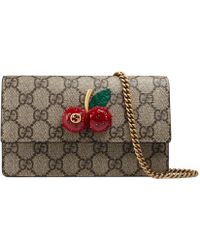 a468e89a839 Gucci Arabesque GG Supreme Mini Chain Bag in Red - Lyst