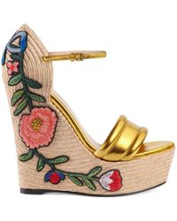 Gucci - Embroidered Metallic Leather Platform Espadrille - Lyst