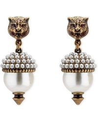 Gucci - Feline Earrings With Resin Pearls - Lyst
