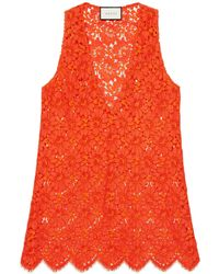 Gucci - Flower Lace Sleeveless Top - Lyst