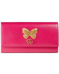 Gucci - Leather Continental Wallet With Butterfly - Lyst