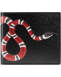 Gucci - Snake Print Leather Wallet - Lyst