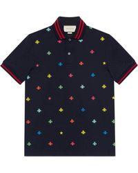 Gucci - Polo in cotone con motivo api e stelle - Lyst