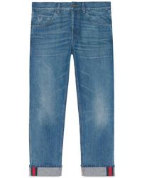 Gucci - Tapered Denim Pant With Web - Lyst