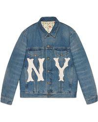 Gucci - Damen Jacke aus Denim mit NY-YankeesTM-Patch - Lyst