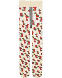 Gucci - Tights With Strawberry And Horsebit Print - Lyst