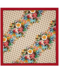 Gucci - The Stamp And Flowers Print Silk Scarf - Lyst