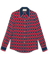Gucci - Rhombus Print Silk Shirt - Lyst