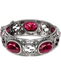 Gucci - Silver Bracelet With Interlocking G Motif - Lyst