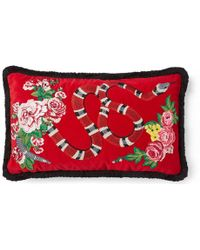 Gucci - Velvet Cushion With Kingsnake Embroidery - Lyst