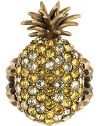Gucci - Crystal Studded Pineapple Ring In Metal - Lyst