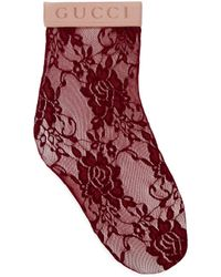 Gucci Söckchen aus Blumen-Spitze - Rot