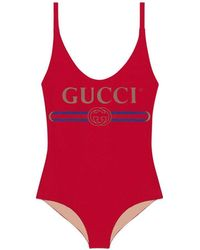 475d49c8cf54 Lyst - Gucci Sparkling Swimsuit With Logo in White