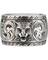 Gucci - Anillo ancho de plata con cabeza felina - Lyst