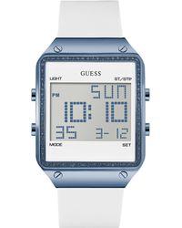 Guess - White And Blue Sleek Digital Fashion Watch - Lyst