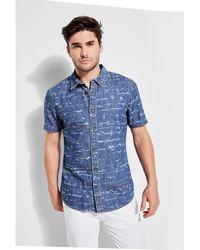 Guess - Slim Fit Printed Denim Shirt - Lyst
