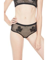 Guess - Floral Embroidered Mesh Brief - Lyst