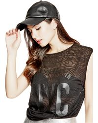 Guess - Embossed Faux-leather Baseball Cap - Lyst
