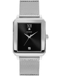 Guess - Silver-tone And Black Rectangular Watch - Lyst