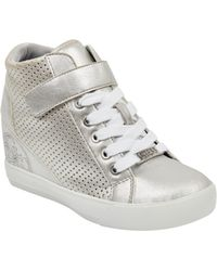 3d450e923305 Lyst - Urban Outfitters Ash Bea Metallic Hidden Wedge Hightop ...
