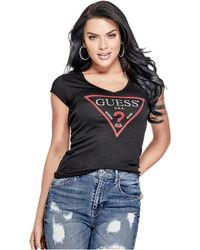 Guess - Bling Logo Tee - Lyst