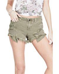Guess - Destroyed Skinny Denim Shorts - Lyst