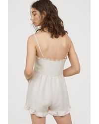H&M - Playsuit With Frills - Lyst