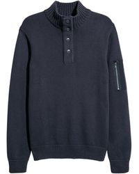 H&M - Knit Sweater With Collar - Lyst