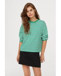 H&M - Striped Jersey Top - Lyst