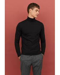 H&M - Merino Wool Polo-neck Jumper - Lyst
