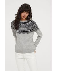 2e8571b7c9d Lyst - H M Fine-knit Sweater in Gray