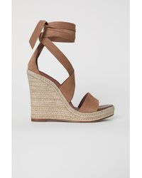 H&M - Suede Wedge-heel Sandals - Lyst