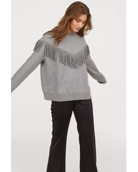 H&M - Sweatshirt With Fringe - Lyst