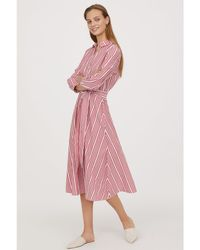 H&M - Striped Shirt Dress - Lyst