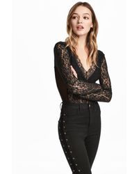 H&M | Long-sleeved Lace Body | Lyst