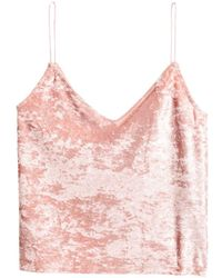 H&M - Crushed Velvet Strappy Top - Lyst