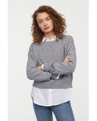 H&M - Bead-patterned Knit Sweater - Lyst